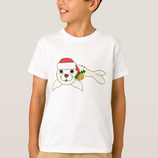 White Baby Seal with Santa Hat & Gold Bell T-Shirt