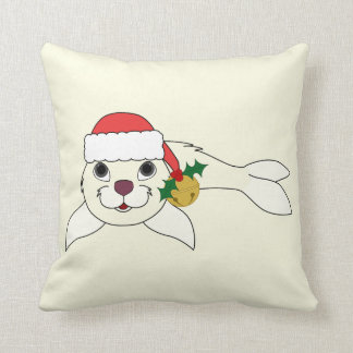 White Baby Seal with Santa Hat & Gold Bell Throw Pillow
