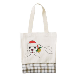 White Baby Seal with Santa Hat & Gold Bell Zazzle HEART Tote Bag