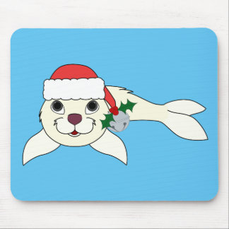 White Baby Seal with Santa Hat & Silver Bell Mouse Pad