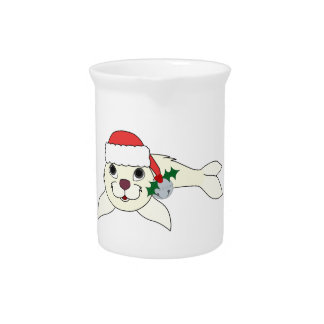 White Baby Seal with Santa Hat & Silver Bell Pitcher