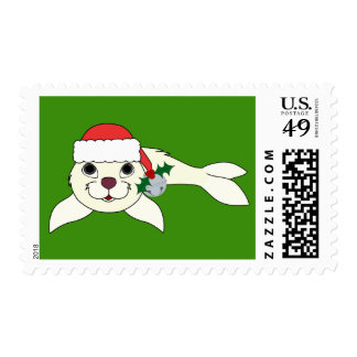 White Baby Seal with Santa Hat & Silver Bell Postage