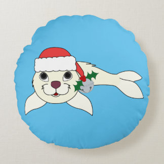 White Baby Seal with Santa Hat & Silver Bell Round Pillow
