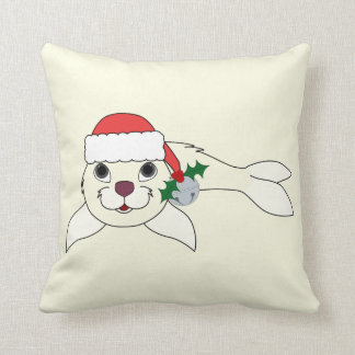 White Baby Seal with Santa Hat & Silver Bell Throw Pillow