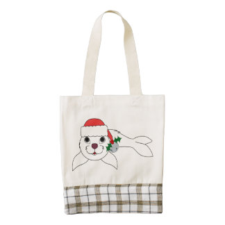 White Baby Seal with Santa Hat & Silver Bell Zazzle HEART Tote Bag