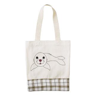 White Baby Seal Zazzle HEART Tote Bag
