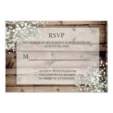 Toddler & Baby themed White Baby's Breath Rustic RSVP Card
