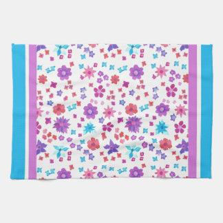 White Background Flower-Power Kitchen Towel