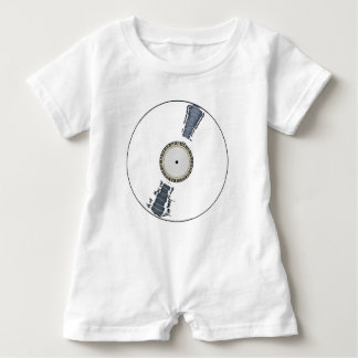 White Background Record Baby Romper