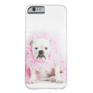 white background, white bulldog, pink feather barely there iPhone 6 case