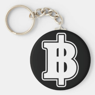 WHITE BAHT SIGN ฿ Thai Money Currency ฿ Basic Round Button Keychain