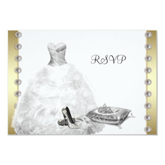 White Ball Gown High Heel Shoes White Quinceanera 3.5x5 Paper Invitation Card