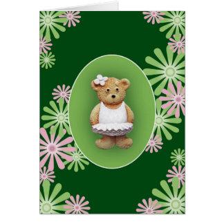 White Ballet Dancer Teddy Bear Greeting Card