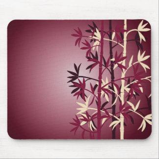 White bambbo burgundy mouse pad
