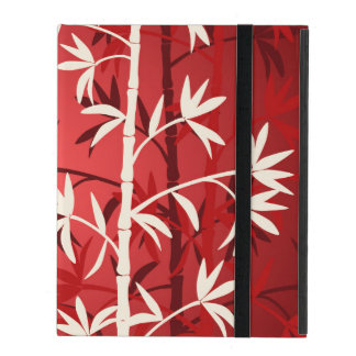 White bamboo red iPad cover