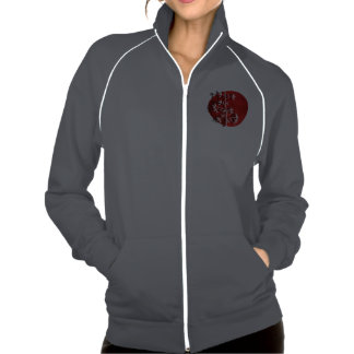White bamboo red american apparel fleece track jacket