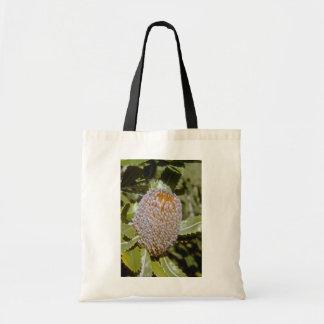 white Banksia serata flowers Budget Tote Bag