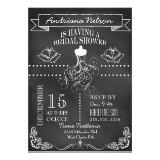 White Banner Chalkboard Bridal Shower Invitation