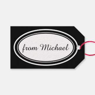 White Banner oval + your background & text Gift Tags