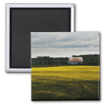 white barn in the yellow farm field refrigerator magnets
