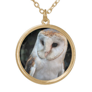 White Barn Owl Gold Plated Necklace