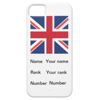 White base British flag with Name, Rank and Number iPhone 5 Cases