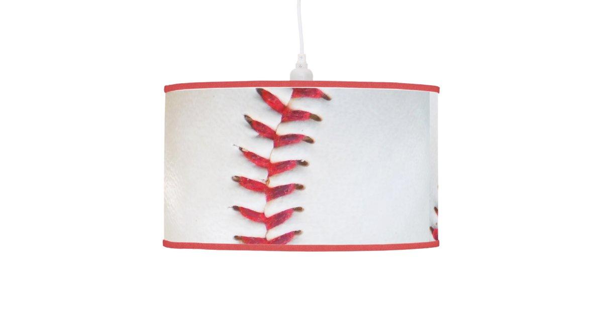 White Baseball Red Stitching Ceiling Lamp Zazzle Com