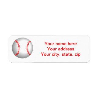 White Baseball Red Stitching Label