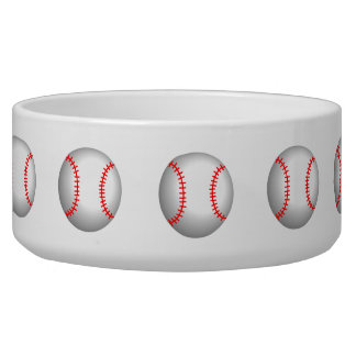 White Baseball Red Stitching Dog Food Bowl