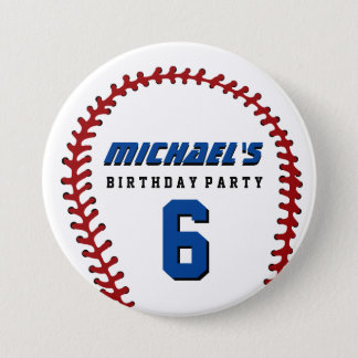 White Baseball Sports Birthday Party Button