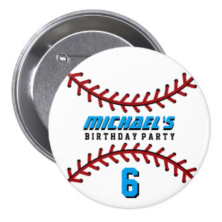 White Baseball Sports Birthday Party Button Pin