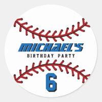 White Baseball Sticker Sports Team Birthday Party