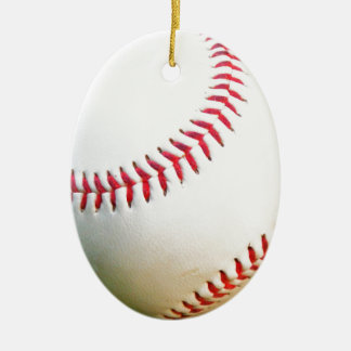 White Baseball with Red Stitching Ceramic Ornament