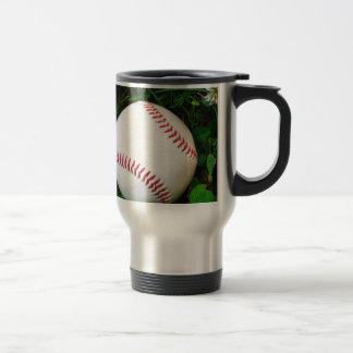 White Baseball with Red Stitching 15 Oz Stainless Steel Travel Mug