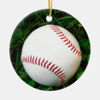White Baseball with Red Stitching Double-Sided Ceramic Round Christmas Ornament