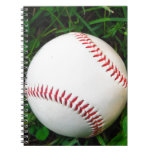 White Baseball with Red Stitching Spiral Notebook