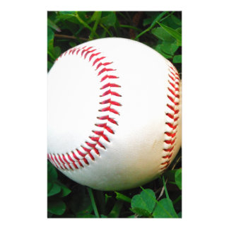 White Baseball with Red Stitching Personalized Stationery