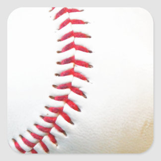 White Baseball with Red Stitching Square Stickers