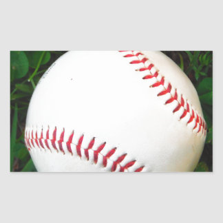 White Baseball with Red Stitching Rectangular Stickers