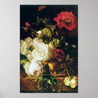 White Basket of Flowers, Jan van Huysum flowers Poster