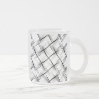 White basket weave texture. frosted glass coffee mug