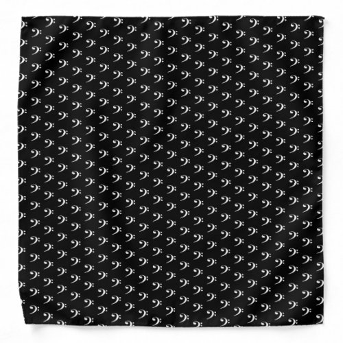 White Bass Clef Music Bandana