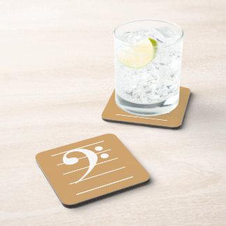 White Bass Clef on Staff Beverage Coaster