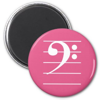 White Bass Clef on Staff Deep Pink Colorful Fun Magnet