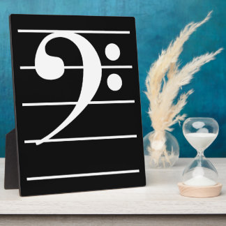 White Bass Clef on Staff Plaque