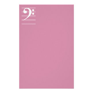 White Bass Clef on Staff Stationery