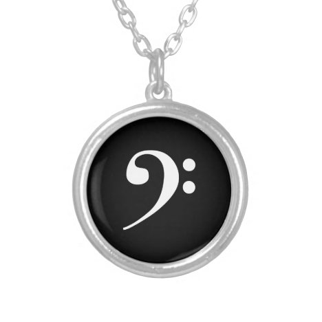White Bass Clef Silver Plated Necklace