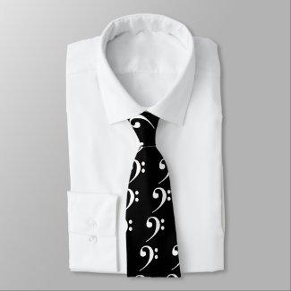 White Bass Clef Tie