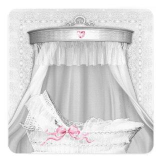 White Bassinet Baby Girl Shower Card