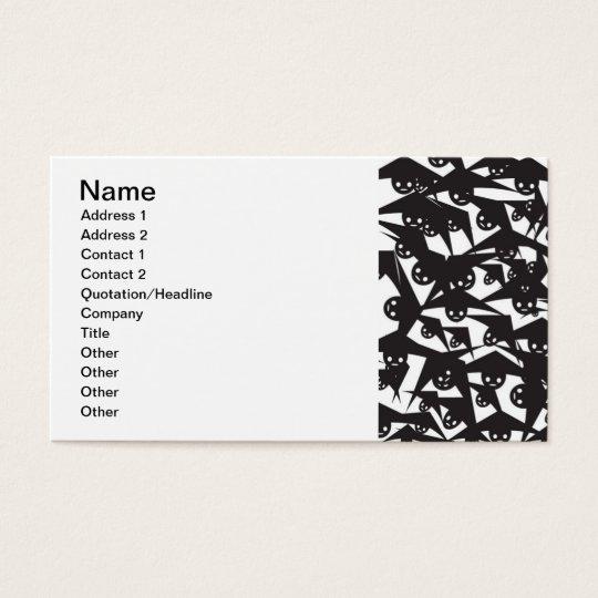 WHITE BAT EYES CARTOON FLYING BATS NIGHT DARK BLAC BUSINESS CARD
